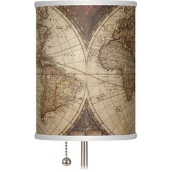 "Vintage World Map 7"" Drum Lamp Shade"