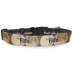 Vintage World Map Deluxe Dog Collar