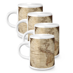 Vintage World Map Espresso Mugs - Set of 4