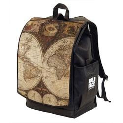 Vintage World Map Backpack w/ Front Flap