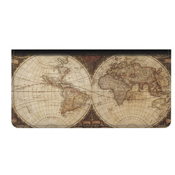 Vintage World Map Genuine Leather Checkbook Cover