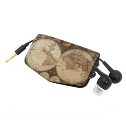 Vintage World Map Genuine Leather Cord Wrap