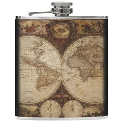 Vintage World Map Genuine Leather Flask