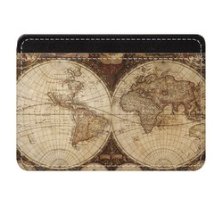 Vintage World Map Genuine Leather Front Pocket Wallet