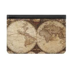 Vintage World Map Genuine Leather ID & Card Wallet - Slim Style