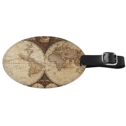 Vintage World Map Genuine Leather Oval Luggage Tag