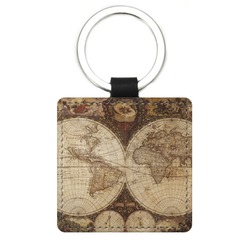 Vintage World Map Genuine Leather Rectangular Keychain