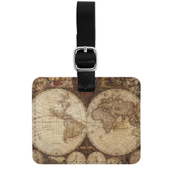 Vintage World Map Genuine Leather Luggage Tag