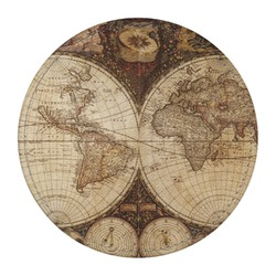 Vintage World Map Round Desk Weight - Genuine Leather