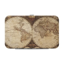 Vintage World Map Genuine Leather Small Framed Wallet
