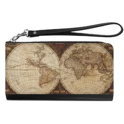 Vintage World Map Genuine Leather Smartphone Wrist Wallet