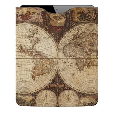 Vintage World Map Genuine Leather iPad Sleeve