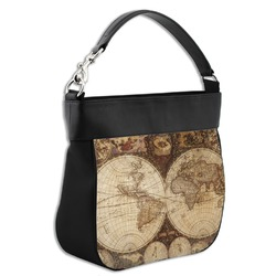 Vintage World Map Hobo Purse w/ Genuine Leather Trim