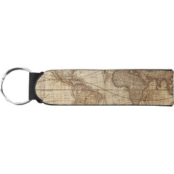 Vintage World Map Neoprene Keychain Fob