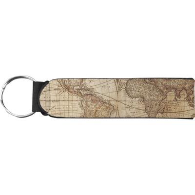 Vintage World Map Neoprene Keychain Fob