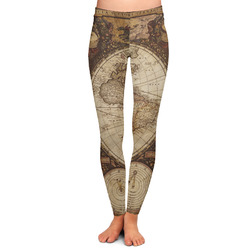 Vintage World Map Ladies Leggings - Extra Large