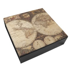 Vintage World Map Leatherette Keepsake Box - 3 Sizes