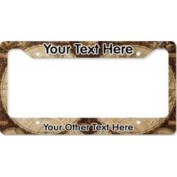 Vintage World Map License Plate Frame