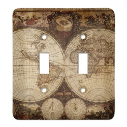 Vintage World Map Light Switch Cover (2 Toggle Plate)