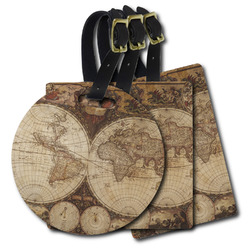 Vintage World Map Plastic Luggage Tags