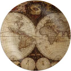 "Vintage World Map Melamine Plate - 8"""
