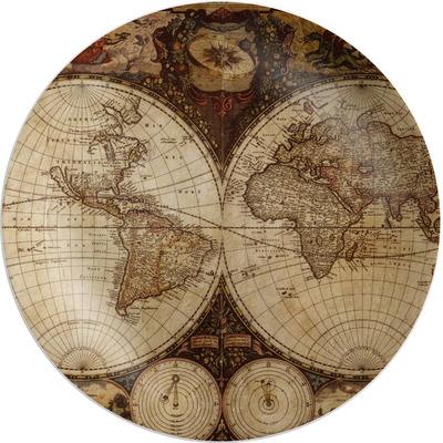 Vintage World Map Melamine Plate