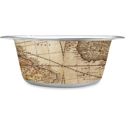 Vintage World Map Stainless Steel Dog Bowl
