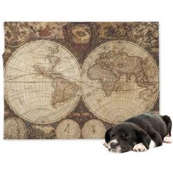 Vintage World Map Dog Blanket