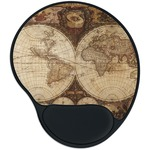 Vintage World Map Mouse Pad with Wrist Support