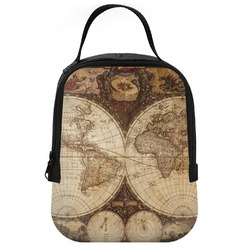 Vintage World Map Neoprene Lunch Tote