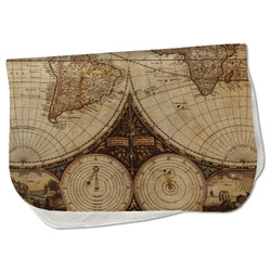 Vintage World Map Burp Cloth - Fleece