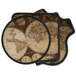 Vintage World Map Iron on Patches