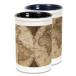 Vintage World Map Ceramic Pencil Holder - Large