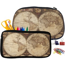 Vintage World Map Pencil / School Supplies Bag