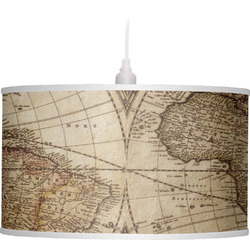 Vintage World Map Drum Pendant Lamp