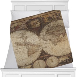 Vintage World Map Minky Blanket