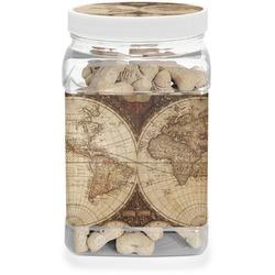 Vintage World Map Dog Treat Jar