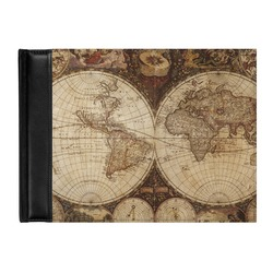 Vintage World Map Genuine Leather Guest Book