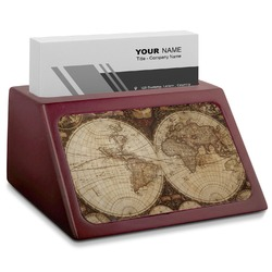 Vintage World Map Red Mahogany Business Card Holder