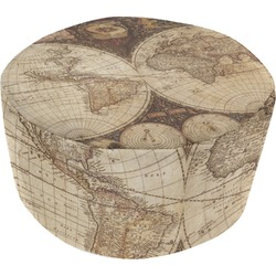 Vintage World Map Round Pouf Ottoman