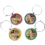 Vintage World Map Wine Charms (Set of 4)