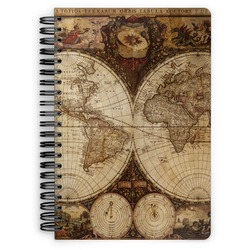 Vintage World Map Spiral Bound Notebook