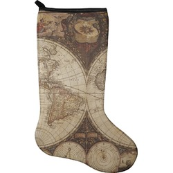 Vintage World Map Holiday Stocking - Neoprene