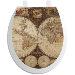 Vintage World Map Toilet Seat Decal - Round