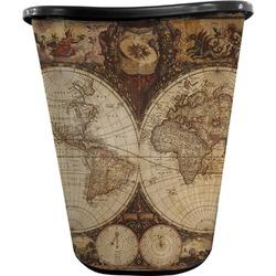 Vintage World Map Waste Basket - Double Sided (Black)