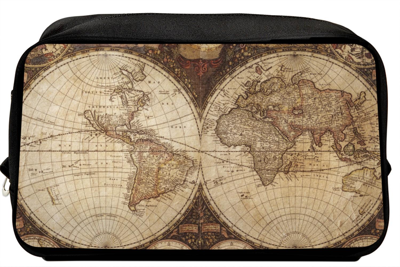 Vintage World Map Toiletry Bag / Dopp Kit on wwii map bag, travel bag, german map bag, korean map bag, military map bag, poster bag, russian map bag, italian map bag, vintage compass, world map bag, leather map bag,