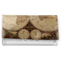 Vintage World Map Vinyl Checkbook Cover