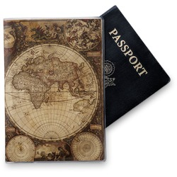 Vintage World Map Vinyl Passport Holder