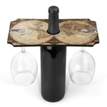 Vintage World Map Wine Bottle & Glass Holder