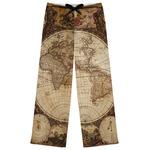 Vintage World Map Womens Pajama Pants